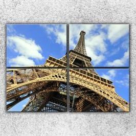 Eiffelovka zespodu 2 (140 x 100 cm) -  Čtyřdílný obraz