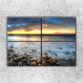 Kameny u moře (140 x 100 cm) -  Čtyřdílný obraz