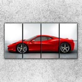 Červené ferrari 3 (160 x 80 cm) -  Čtyřdílný obraz
