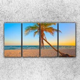 Písečná pláž s palmou 1 (160 x 80 cm) -  Čtyřdílný obraz
