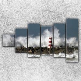 Maják v bouři 3 (150 x 90 cm) -  Šestidílný obraz