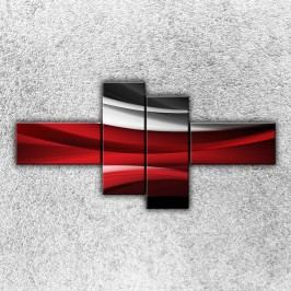 Červenobílá vlna 2 (180 x 90 cm) -  Čtyřdílný obraz