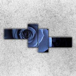 Modrá růže (200 x 85 cm) -  Čtyřdílný obraz