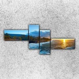Rozbouřené vlny (200 x 85 cm) -  Čtyřdílný obraz
