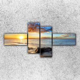 Útesy při západu slunce 3 (180 x 90 cm) -  Čtyřdílný obraz