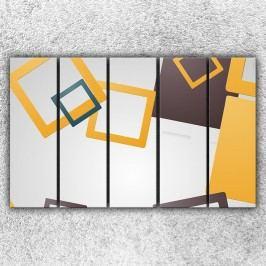 Čtvercová abstrakce (125 x 80 cm) -  Pětidílný obraz