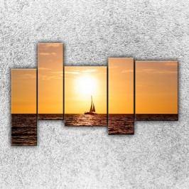 Západ slunce nad jachtou 4 (190 x 120 cm) -  Pětidílný obraz