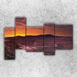 Západ slunce nad krajinou (190 x 120 cm) -  Pětidílný obraz