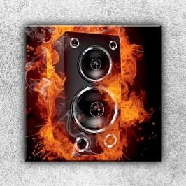 Hořící reprobedna (70 x 70 cm) -  Jednodílný obraz