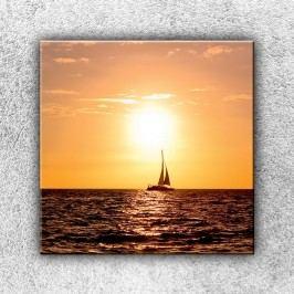 Západ slunce s plachetnicí (70 x 70 cm) -  Jednodílný obraz