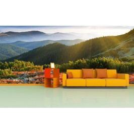 Louka a hory (126 x 80 cm) -  Fototapeta na stěnu