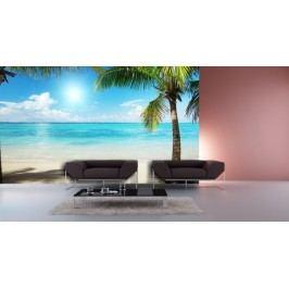 Palmy na pláži (126 x 90 cm) -  Fototapeta na zeď