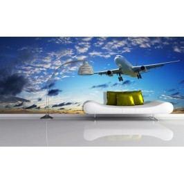 Letadlo v oblacích (126 x 44 cm) -  Fototapeta