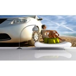 Auto na pláži (126 x 102 cm) -  Fototapeta na zeď