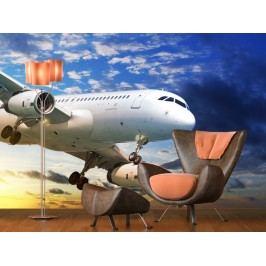 Letadlo v oblacích 2 (126 x 126 cm) -  Fototapeta na zeď