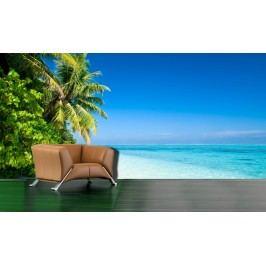 Pláž s palmami 2 (126 x 81 cm) -  Fototapeta na zeď