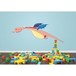 Letící drak (60 x 23 cm) -  Barevná samolepka na stěnu