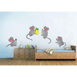 Myšky 4 kusy - Barevná samolepka na zeď