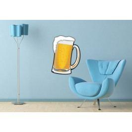 Sklenice piva (50 x 36 cm) -  Barevná samolepka na zeď