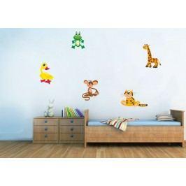 Dětská zvířátka set 5 kusů - Barevná samolepka na zeď