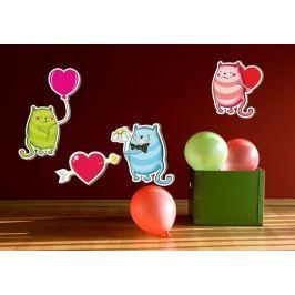 Valentýnské kočičky - Barevná samolepka na zeď