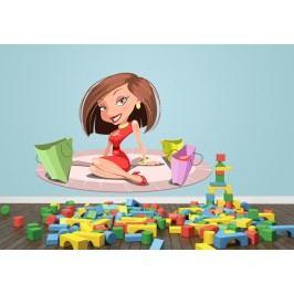 Žena na nákupech (60 x 40 cm) -  Barevná samolepka na zeď