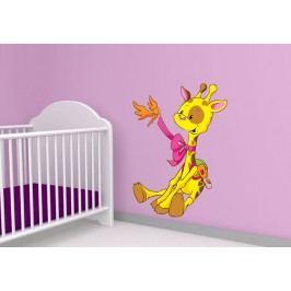 Žirafa s ptáčkem (60 x 42 cm) -  Barevná samolepka na zeď