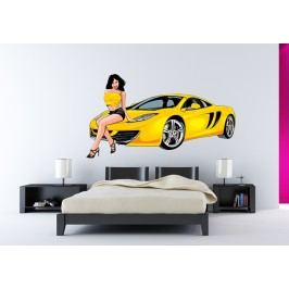 Dívka u auta 2 (60 x 34 cm) -  Barevná samolepka na stěnu