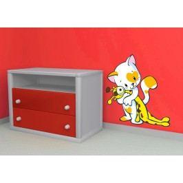 Kočička s plyšákem (60 x 56 cm) -  Barevná samolepka na zeď