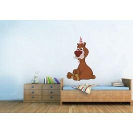 Xdecor Medvěd v čepici (60 x 39 cm) -  Barevná samolepka na zeď