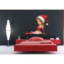 Žena ve vánočním oblečku (60 x 49 cm) -  Barevná samolepka na stěnu