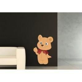 Medvídek s mašlí (60 x 40 cm) -  Barevná samolepka na zeď