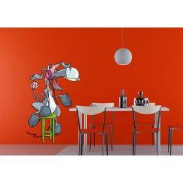 Osel na stoličce (60 x 40 cm) -  Barevná samolepka na stěnu