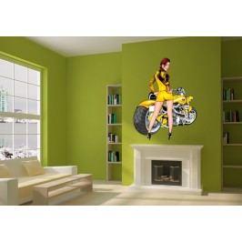 Dívka u motorky 6 (60 x 48 cm) -  Barevná samolepka na zeď