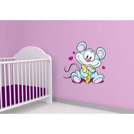 Myška se sýrem (60 x 60 cm) -  Barevná samolepka na zeď