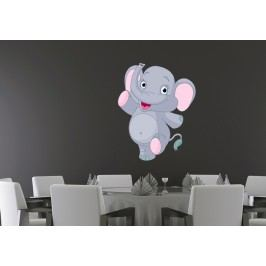 Pochodující slon (60 x 48 cm) -  Barevná samolepka na stěnu