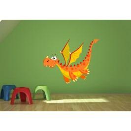 Oranžový drak (60 x 49 cm) -  Barevná samolepka
