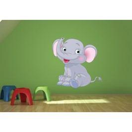 Sedící slonice (60 x 58 cm) -  Barevná samolepka na zeď