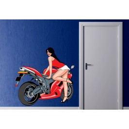 Dívka u motorky 4 (60 x 59 cm) -  Barevná samolepka na zeď