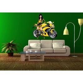 Dívka u motorky 2 (60 x 60 cm) -  Barevná samolepka na stěnu