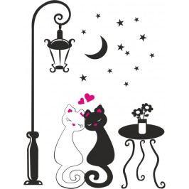Kočičky pod lampou - Barevná samolepka na stěnu