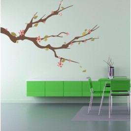 Jarni větvička (98 x 73 cm) -  Barevná samolepka na zeď