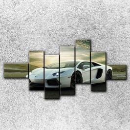 Stříbrné Lamborghini 4 (210 x 100 cm) -  Sedmidilný obraz