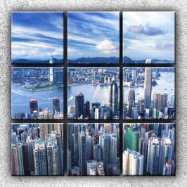 Městské panorama 3 (90x90cm) -  Devítidílný obraz (90 x 90 cm)