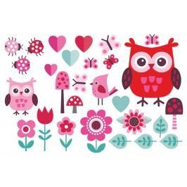 Set sovičky růžové (60 x 40 cm) -  Samolepky na zeď