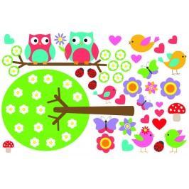 Set sovičky a ptáčci (60 x 40 cm) -   Samolepky na zeď