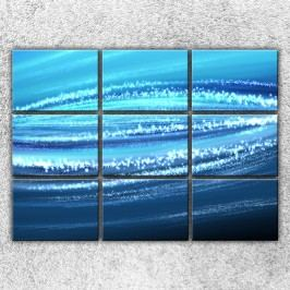 Xdecor Modrá abstrakce (210 x 150 cm) -  Devítidilný obraz