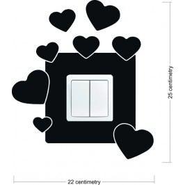 Srdíčka (25 x 22 cm) -  Samolepka na vypínač