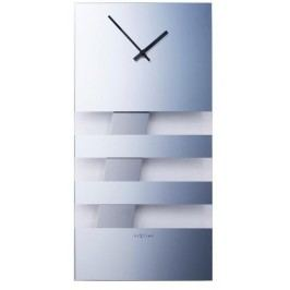 Designové nástěnné kyvadlové hodiny 2855mi Nextime Bold Stripes silver 38x19cm