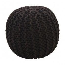 CrazyShop Pletený puf Crazyshop SOLID Mini, černý - ručně pletený